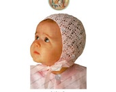 All-Over Lace Bonnet to Knit for Baby Vintage Knitting Pattern - Instant Download PDF - PrettyPatternsPlease