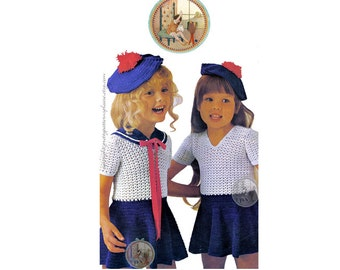 Sailor Dress and Beret for Girls - Vintage Pattern to Crochet - PDF Instant Download - PrettyPatternsPlease
