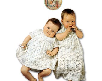 Christening Day Lacy Gown to Knit - Long or Short - PDF Pattern - PrettyPatternsPlease