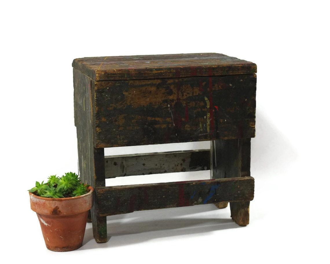Rustic Wood Stool Vintage Step Stool Tool Caddy