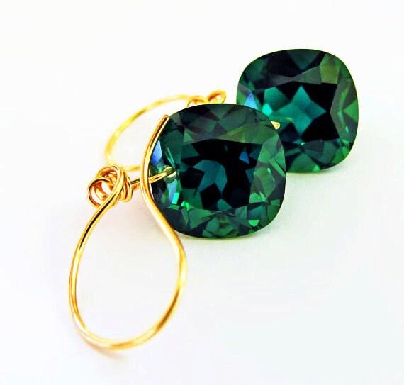 14k Gold Amethyst Earrings, 14k Gold Green Amethyst Earrings