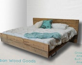 Modern Rustic Reclaimed Wood Platform Bed, Queen Size Made to order