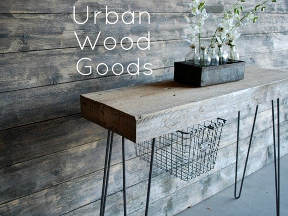 "Industrial Console table with thick reclaimed wood top, hairpin legs.(free shipping) 2 ft l x 11.5"" x 30"" tall"