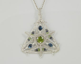 Faceted Peridot and London Blue Topaz Sterling Argentium Silver Wire Wrap Pendant