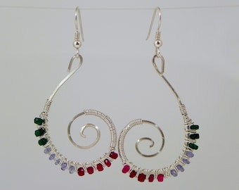 Micro Faceted Emerald, Tanzanite and Ruby Beaded Sterling (Argentium) Silver Wire Wrap Earrings