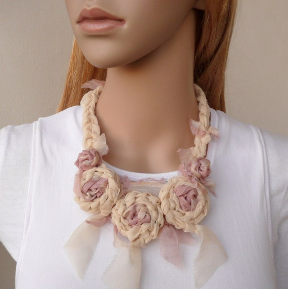 Flower Fiber Necklace Dusty Pink and Cream Silk Chiffon Shabby Chic Fashion Accessory Unique Fabric Crochet Necklace