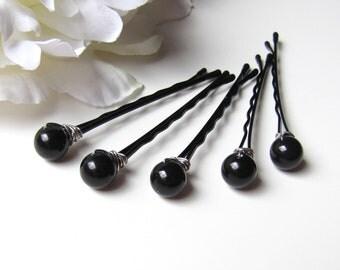 Black Hair Pin Pearls, Swarovski Wire Wrapped