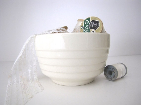 Ironstone Bowl Vintage Creamy White from AllieEtCie