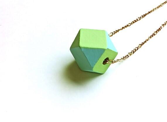 Mint & Sky Geo Pendant - Pastel Painted Geometric Wood Necklace - Minimalist Summer Fashion