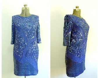 Sapphire Blue Beaded Sequined Dress Vintage 1960s Lillie Rubin