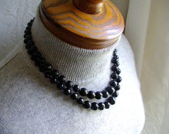 HONG KONG CHOKER Necklace Black Double Strand faceted bead vintage 1960s