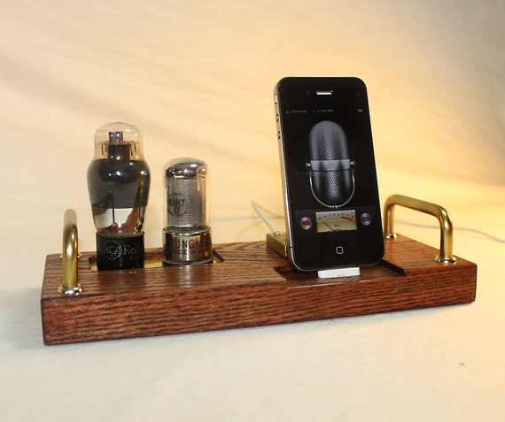 iPhone 5 Dock - iPod Dock - New Lighting Plug Kit or 30 Pin Mounted - Charger and Sync Station - Tube Model DeLuxe 2 - Oak - steampunk