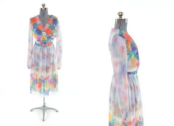 70s White Sheer Floral Spray-paint Bright Dress SZ M L
