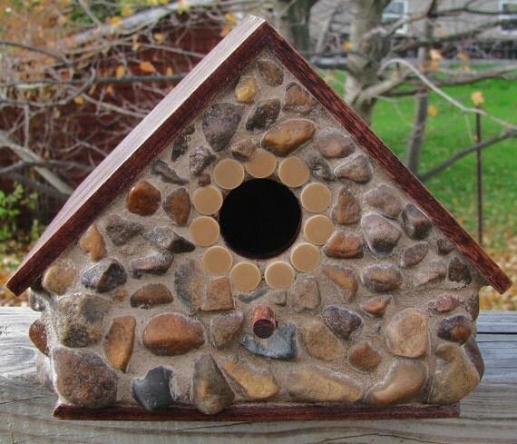 River Stone Mosaic Decorative Birdhouse By Redfordglassstudio