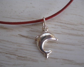 Silver Dolphin Necklace, Beach Charm, Dolphin Choker, Dolphin Leather Necklace, Leather Cord Necklace, Dophin Pendant Silver Beach Jewelry