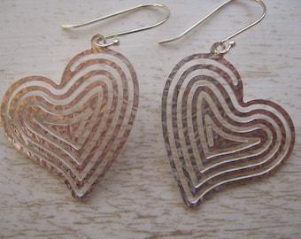 Silver Heart Earrings, Dangle and Drop Earrings, BIg Dangle Heart Earrings, Spiral Earrings, Sterling Silver Heart Earrings