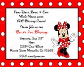 10 Red Minnie Mouse Invitations with Envelopes.  Free Return Address Labels
