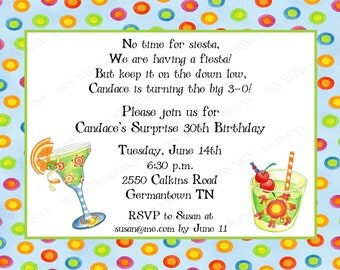10 Mexican Fiesta Invitations with Envelopes.  Free Return Address Labels