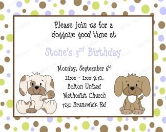 10 Puppy Birthday Invitations with Envelopes.  Free Return Address Labels
