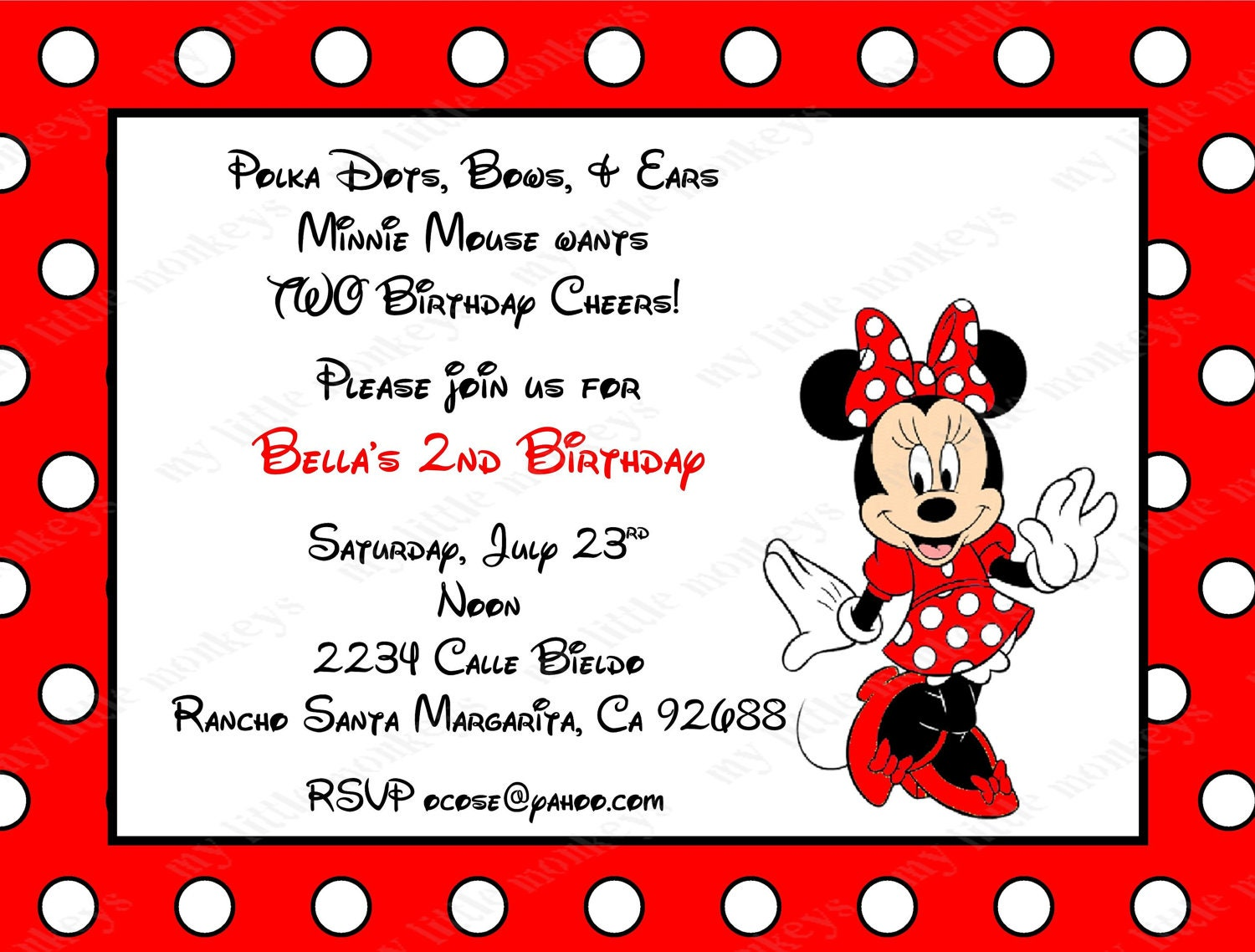 10 Red Minnie Mouse Invitations with Envelopes. Free Return