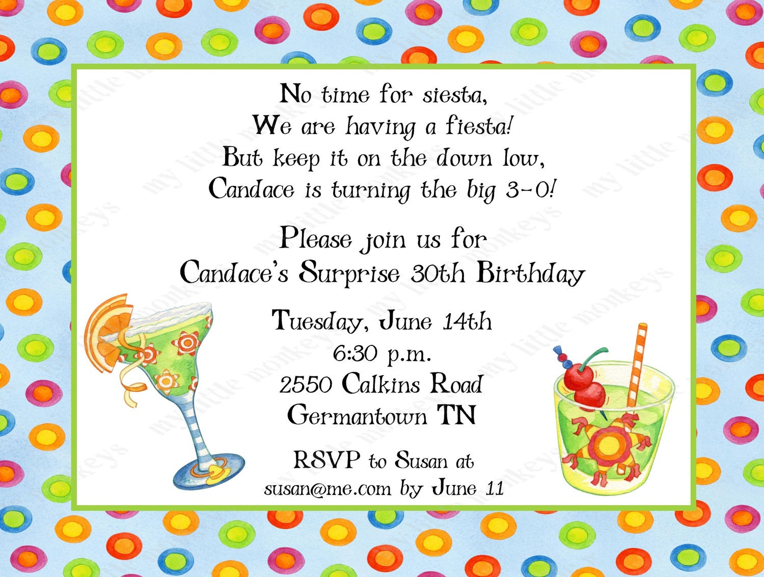10 Mexican Fiesta Invitations with Envelopes. by BethCloud723