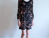 vintage printed dress / brown and black chiffon dress / M