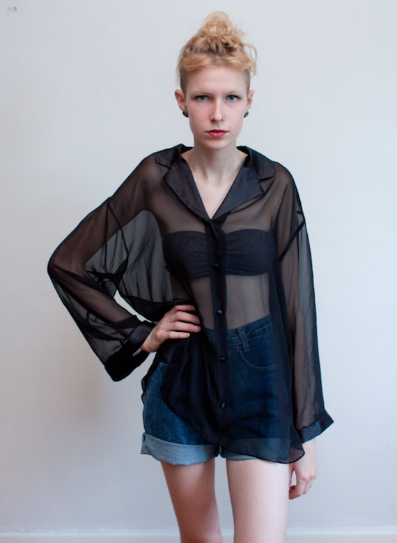 vintage sheer blouse / black chiffon blouse / L