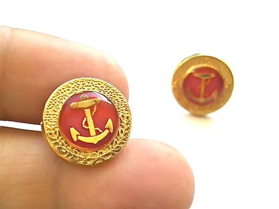 Captain Ron's Red Anchor Earrings with Sterling Silver Posts & Earring Backings- Matching Ring Sold Separately