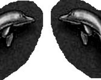 Dolphin Stud Earrings Sterling SILVER Free Shipping
