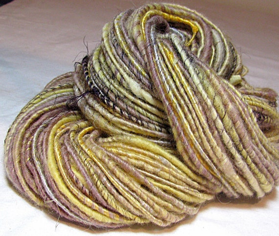 SALE Handspun Art Yarn Corespun Sheeping Beauties 'Golden Sunset'