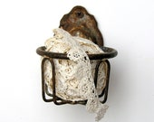 RESERVED Antique Water Glass Holder Rustic Bathroom Accessory Rusty Chippy Rustic Hardware Primitive Farm House