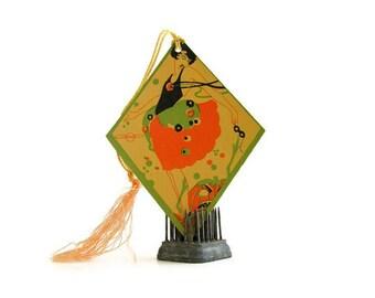 Halloween Flapper Girl Vintage Bridge Tally Jack O Lantern