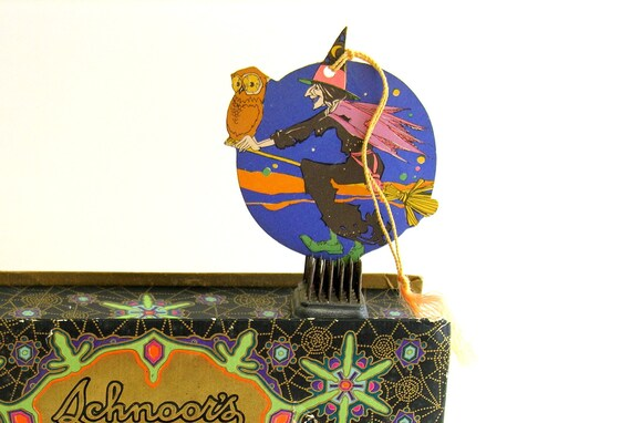 RESERVED Halloween Witch Vintage Bridge Tally Hallmark Owl Broom