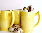 Chunky Vintage Coffee Mugs. Pale Yellow Brown Farm Egg Speckle