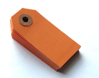 Halloween Orange 2 3/4 x 1 3/8 Inch Shipping Tags 20pcs // Gift Tags // Parcel Tags // Packaging  13pt Cardstock // Color Tags