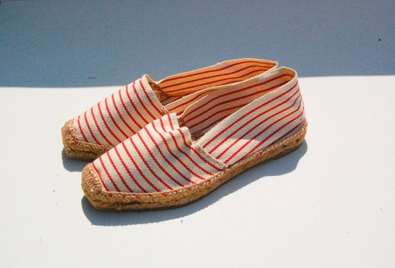 Red and white striped canvas flats 1990s