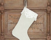 Stocking, Green Windowpane with Lace