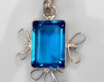 Vintage Blue Glass Sterling Pendant
