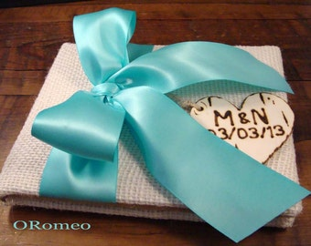 Rustic Personalized Burlap Wedding Guestbook ... Accent with satin to match your ceremony