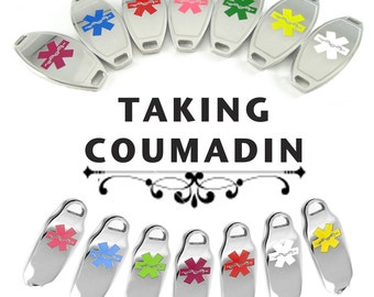 COUMADIN Medical ID plate Pre-Engraved, for Stylish Beaded ID Bracelets