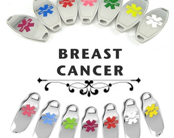 BREAST CANCER Medical ID plate Pre-Engraved, for Stylish  Beaded Bracelets