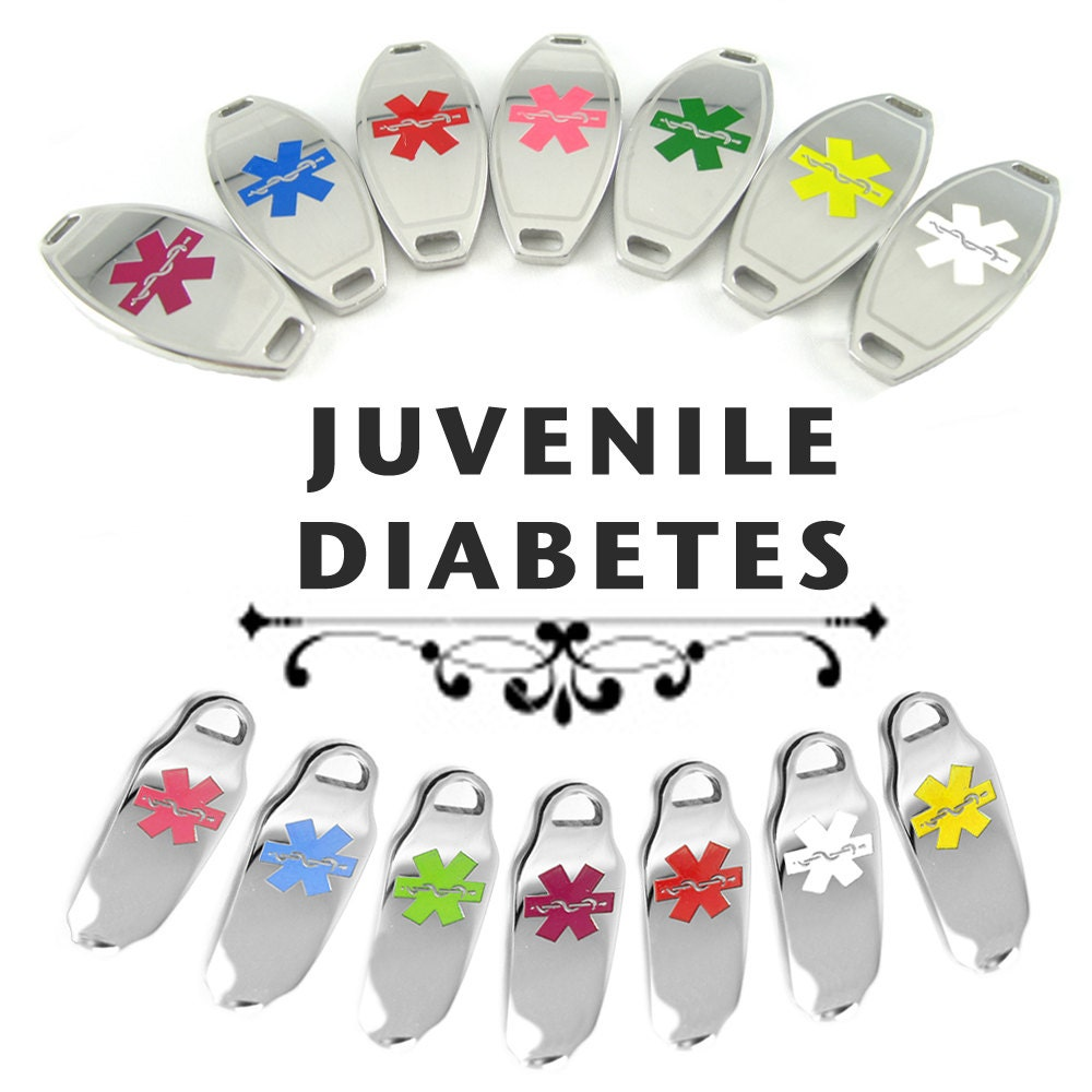 Juvenile Diabetes Id Plate Pre Engraved For Stylish Beaded