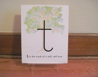 extra large 1970s Alphabet Flash Card - letter T is the TRUNK of a tall, tall TREE - vintage nursery poetry  poster , ready to frame