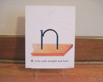 extra large 1970s Alphabet Flash Card - letter N is for NAILS straight and bent  - vintage nursery poetry  poster , ready to frame