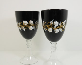 Wine Glasses Hand Painted Black Wine Glasses White Gold Rose Buds Set of 2