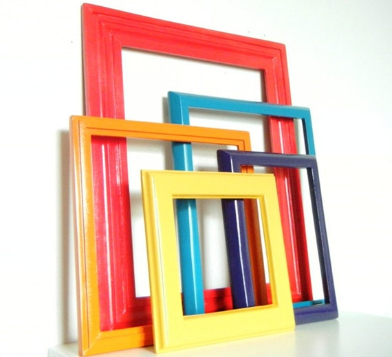 Bohemian Decor Chic Gallery Wall Frame Collection in Teal blue, Cherry Red, Bright Orange, Mustard Yellow