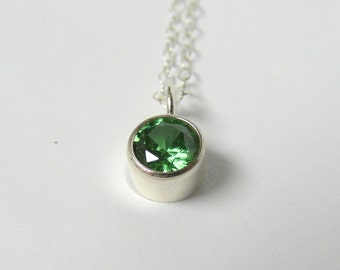 CZ solitaire necklace, Emerald green cubic zirconia clavicle necklace