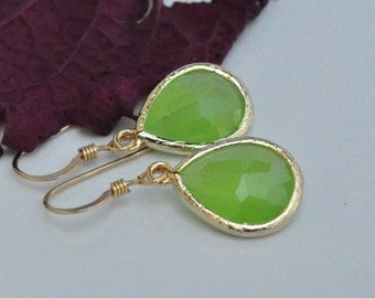 Peridot Green Petite Drop Gold Filled Earrings-Bridesmaid Earrings, Wedding Bridal Jewelry