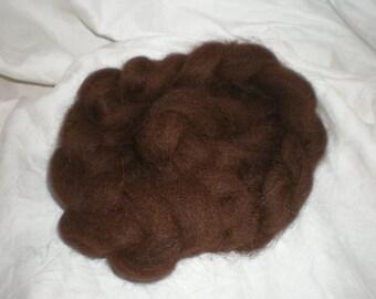 Huacaya Alpaca Roving Natural Brown dark chocolate 2 oz.