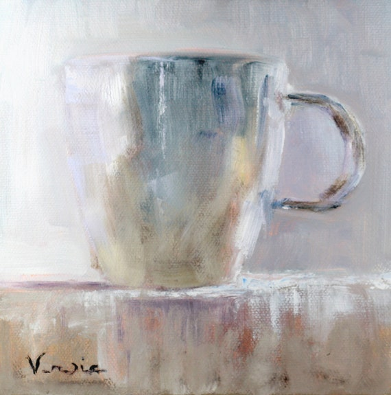 fine art painting on canvas art white cup oil painting kitchen decor wall art daily painting